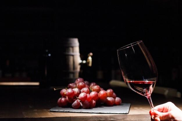 mujer-tenencia-vidrio-vino-antes-manojo-uva-acostado-negro-placa_1304-2851