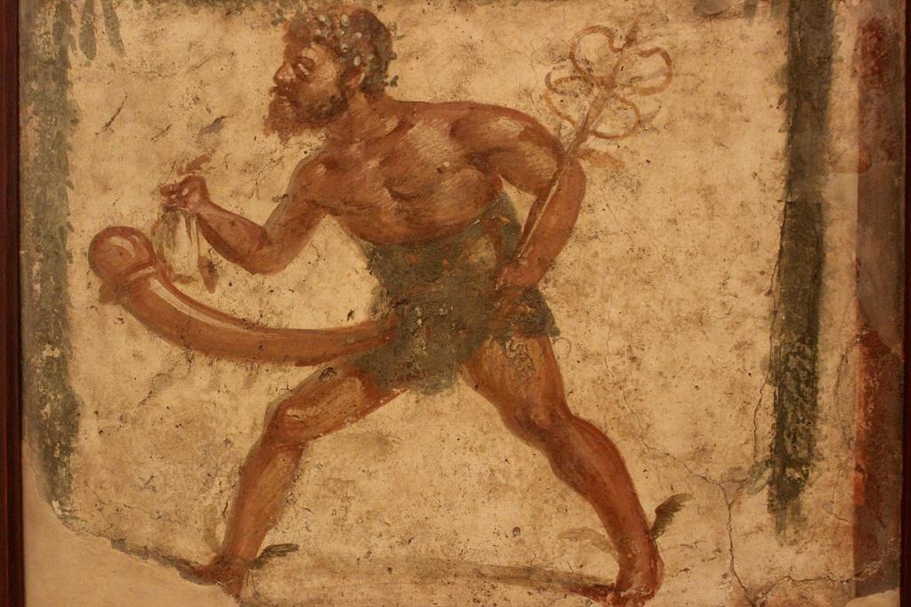 Príapo - Fresco pompeyano. Museo Arqueológico de Nápoles